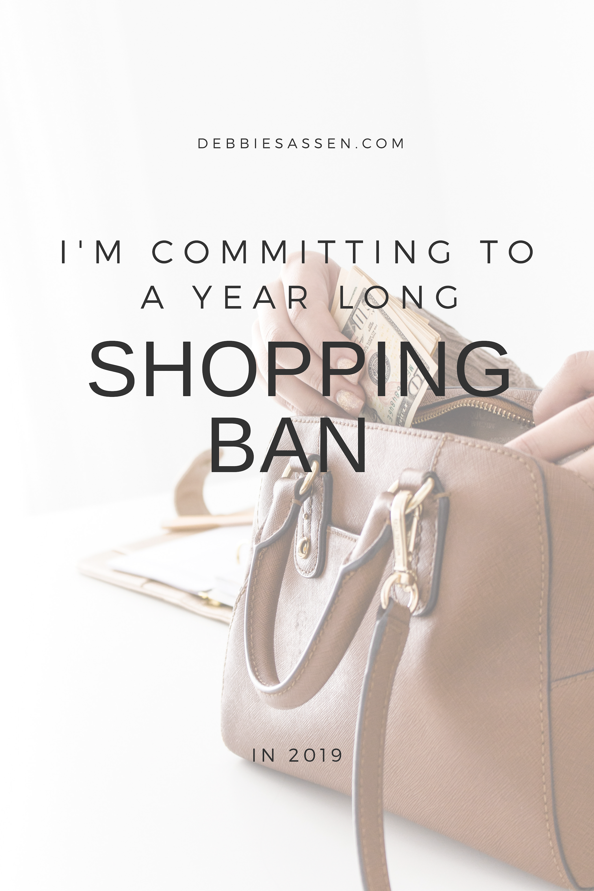 I'm Commitiing to a Year Long Shopping Ban 2019 Pin - Debbie Sassen
